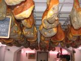 Lots of ham hanging in the ceiling at Macelleria Falorni